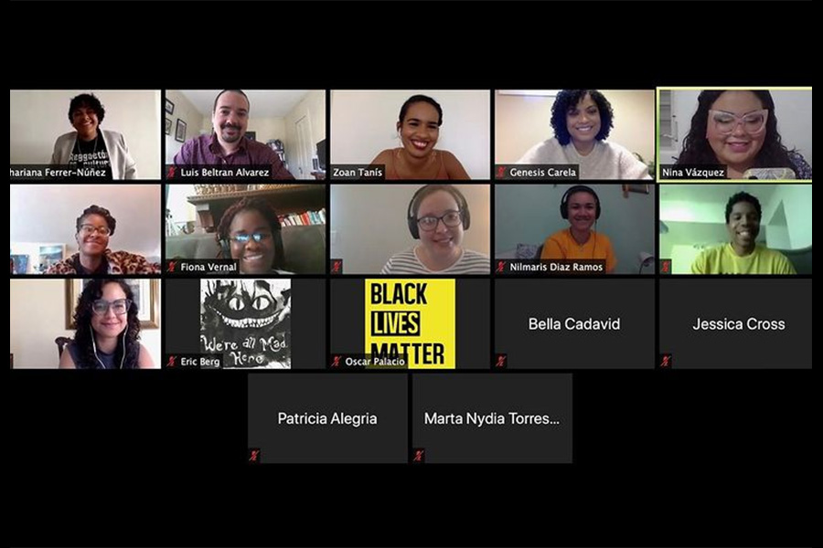Screen shot of a virtual meeting with more than a dozen diverse participants.